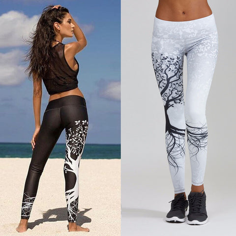 Women Printed Sports Yoga Workout Gym Fitness Exercise Athletic Pants - Fab Fash