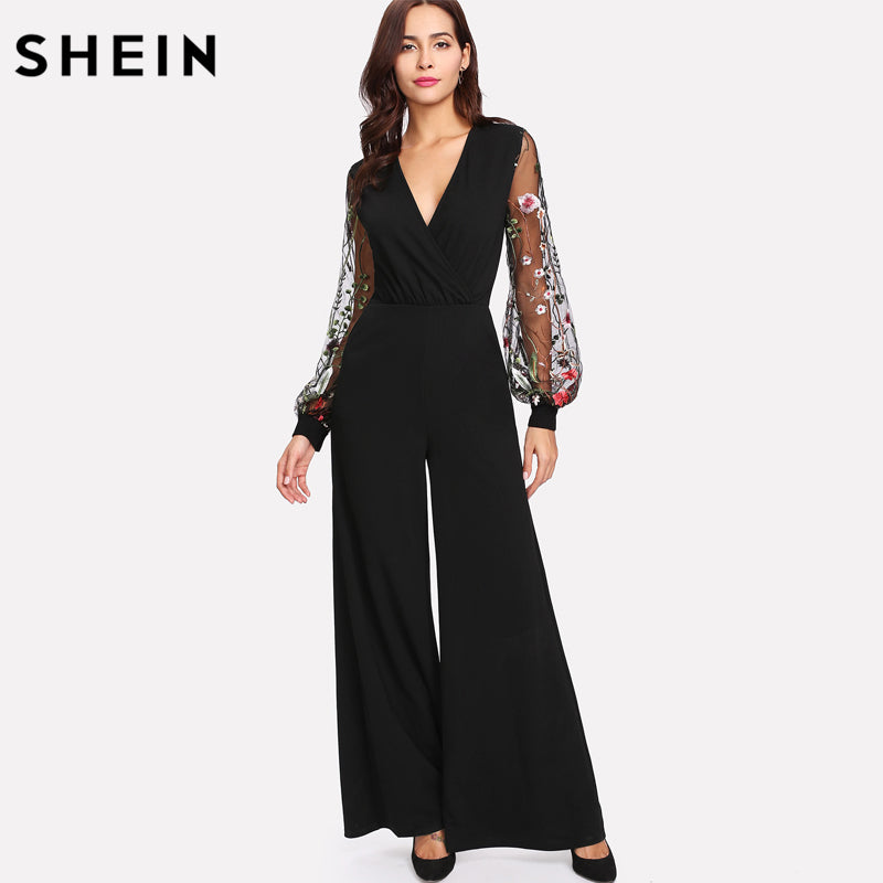SHEIN Botanical Embroidery Contrast Mesh Bishop Sleeve Wrap Jumpsuit 2018 Fashion Jumpsuit Black Sexy High Waist Zipper Jumpsuit