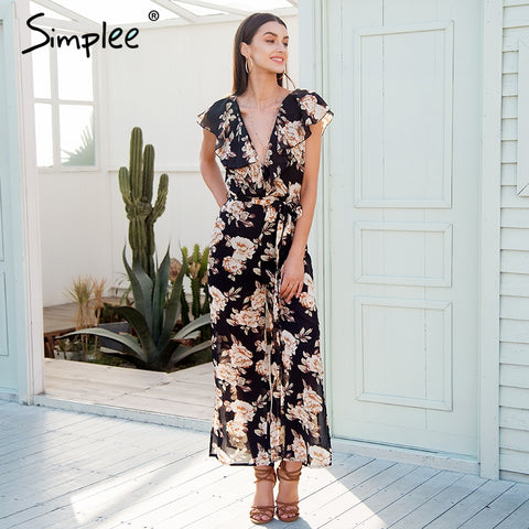 Simplee Sexy v neck tiered ruffle chiffon jumpsuit women Side split loose black jumpsuit romper Sash summer playsuit 2018 - Fab Fash