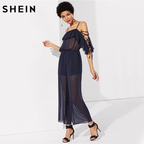SHEIN Sexy Jumpsuit Women Navy Spaghetti Strap Mid Waist Half Sleeve Lace Up Sleeve Semi Sheer Polka Dot Jumpsuit - Fab Fash
