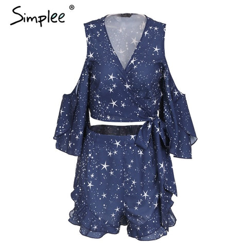 Simplee Sexy ruffle star print two piece romper Women cold shoulder wrap top playsuit Summer v neck jumpsuit overalls 2018