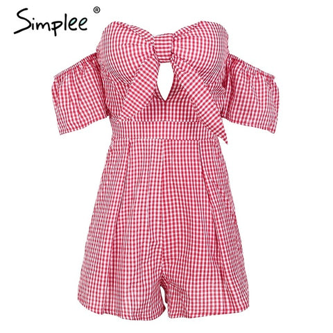Simplee Off shoulder bow jumpsuit female Sexy plaid backless high waist women romper 2018 new Summer beach short overalls