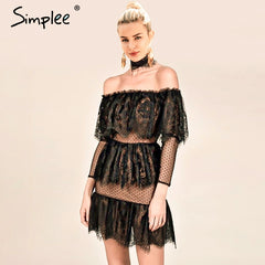 Simplee Off shoulder sexy lace romper women Ruffle elegant jumpsuit short overalls female Spring streetwear elegant playsuit