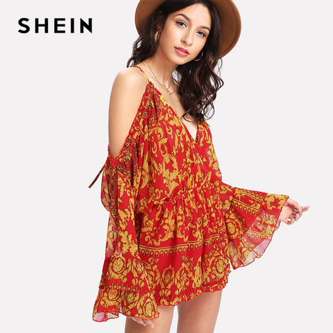 SHEIN Frill Open Shoulder Surplice Wrap Romper Multicolor Deep V Neck Long Sleeve Mid Waist Romper 2018 Summer Women Jumpsuit - Fab Fash