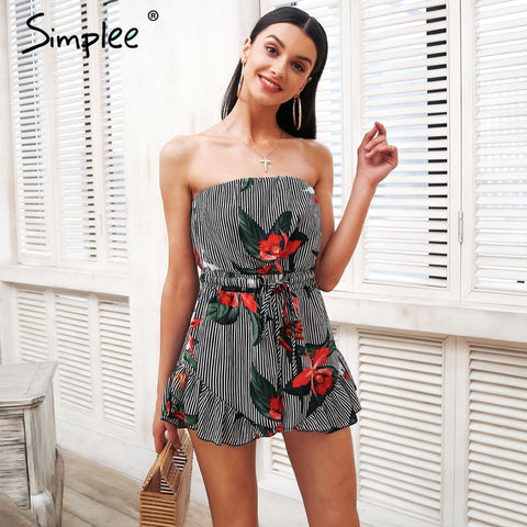 Simplee Strapless print jumpsuit romper women Stripe backless summer romper Casual streetwear short overalls female leotard 2018