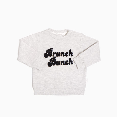 Pull gris chiné clair « Brunch Bunch »
