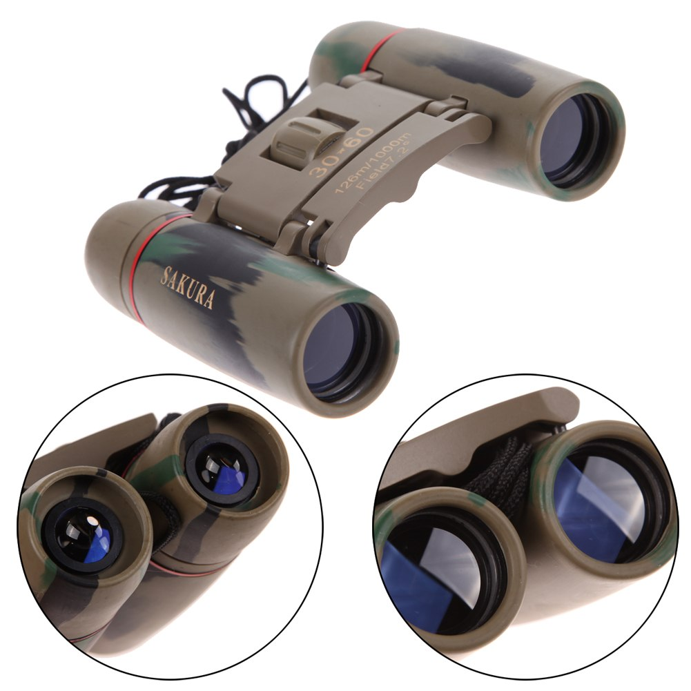 Day Night Vision Mystery 30 x 60 Zoom Travel Folding Red Membrane Binoculars Telescope with Case