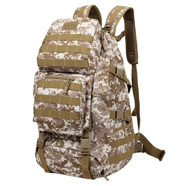55L Large Capacity Gym Bag Back Pack Bag Outdoor Climbing Bag Waterproof Sports Travel Backpack Army Camouflage Free Ship