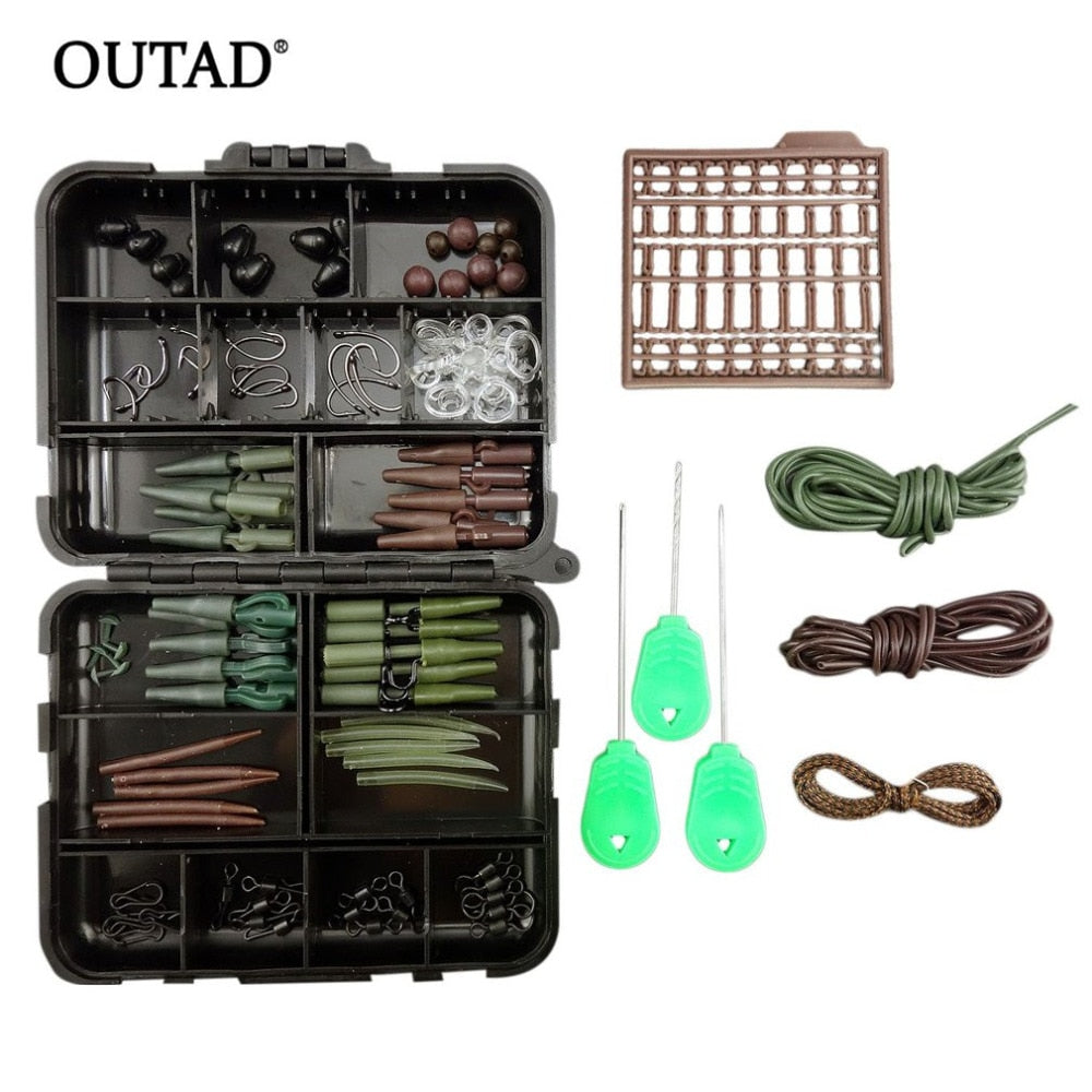 1 Set Fishing Tackle Kit Box Lead Clips Hooks Swivels Anti-tangle Sleeves Baiting Needles Terminal Rigs Fishing Tools with box
