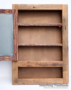 Rustic Barnwood Medicine Cabinet Recessed With Open Shelf Made From