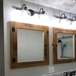 Recessed Barn Wood Medicine Cabinet With Mirror Made From 1800s Barn
