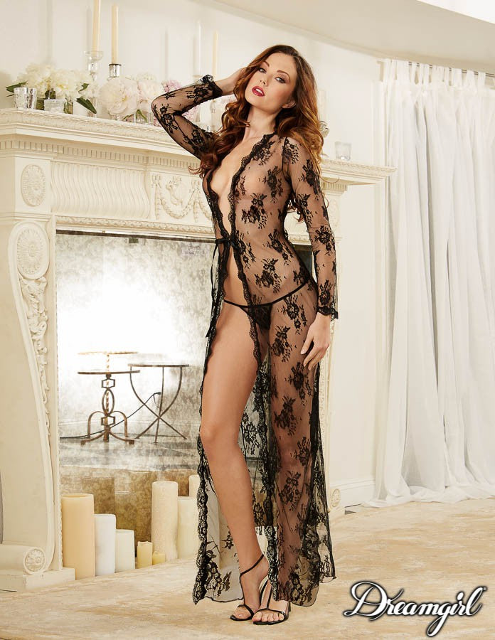 Black Sheer Lace Peignoir Set