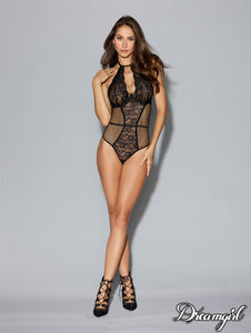 Black Lace Halter Bodysuit