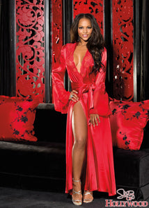 High Slit Long Satin Robe