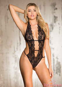 "Deep ""V"" Halter Lace Teddy"