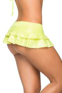Wet Look Double Layered Ruffle Mini Skirt