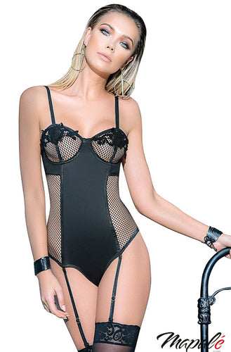Black Sultry Net Panel Teddy