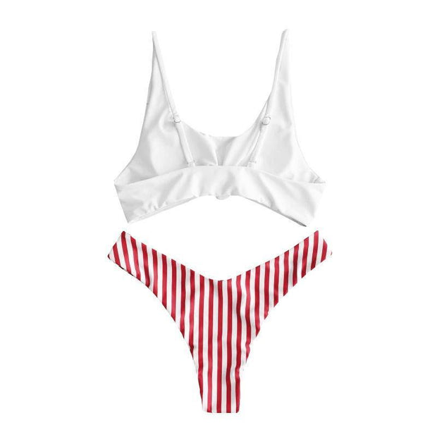 BISOUS WEAR SMALL / WHITE/RED STRIPE CATERINA SET- RED