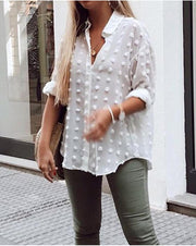 Ash Loose Polka Dot Blouse