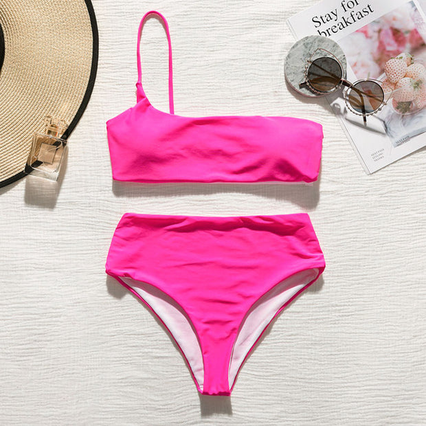 Zuma One-Sided High Waisted Bikini Set