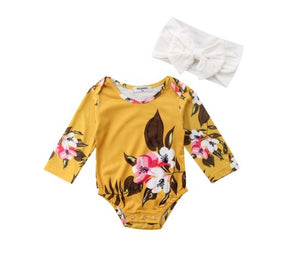 Autumn Flower Bodysuit & Bow Set