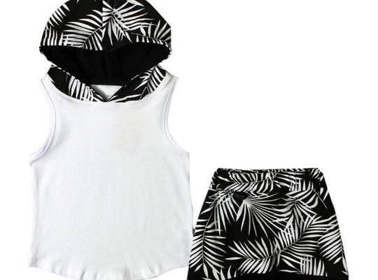 B & W Leaf Printed Hooded Tank & Jogger Shorts Set