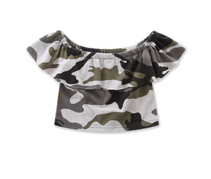 Camo Off-the-shoulder Cropped Top