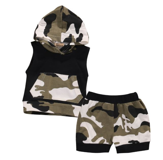 Baby Camouflage Hooded Tank & Shorts