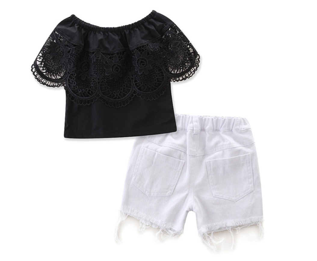 Dark Rose Crop Top & Shorts Set