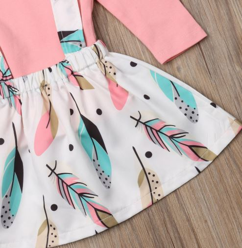Flamingo Feather Overall Skirt Set