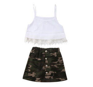 Lace Fringe Crop Top & Camo Skirt Outfit