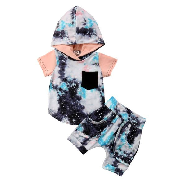 Galaxy Hooded Tee & Jogger Shorts Set