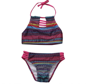 Tribal Print Cut-Out Swim Suit