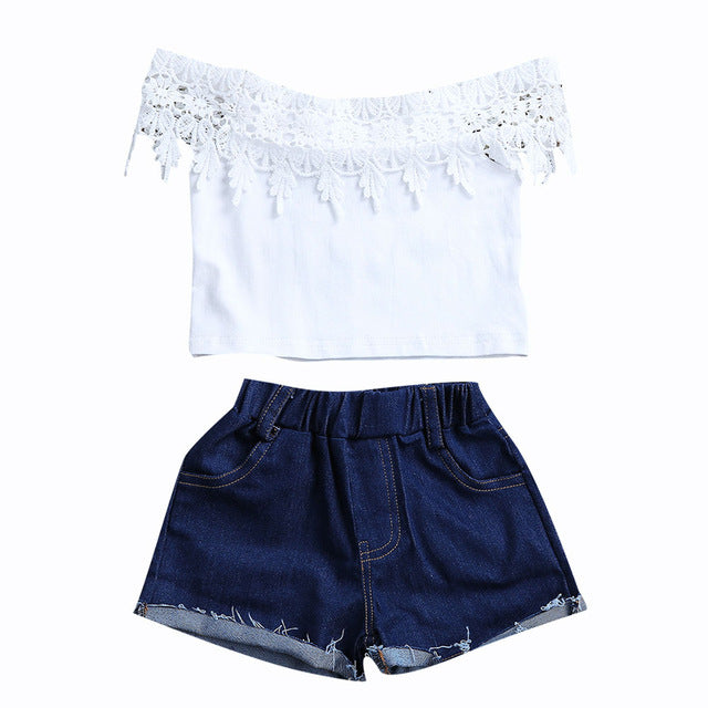 Lace Crop Top & Denim Shorts Set