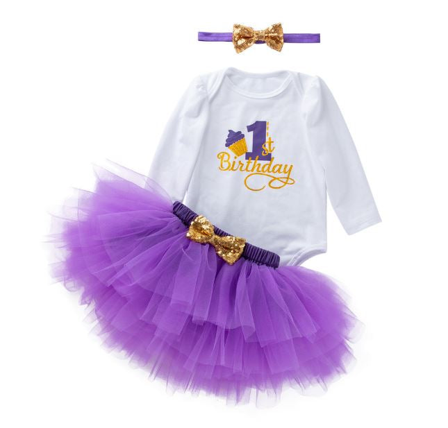 One Cupcake Onesie & Tutu Birthday Outfit Set  (Available in more colors)