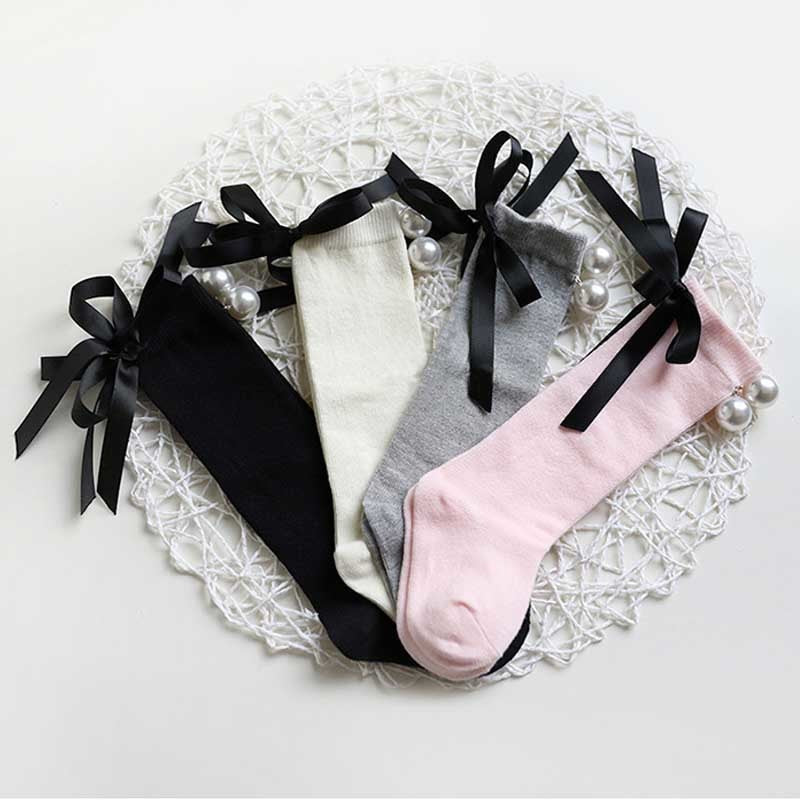 Pearl Bowknot Knee High Socks