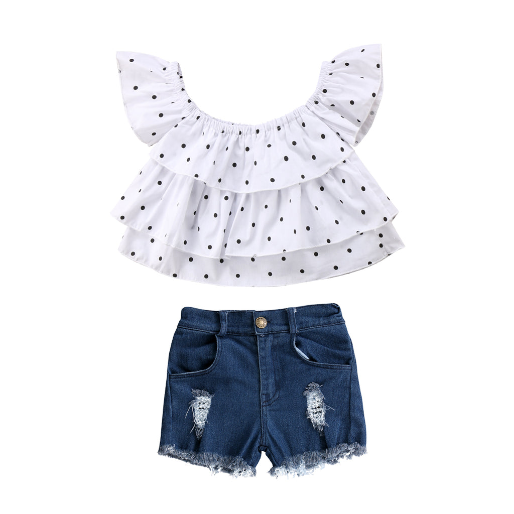 Polka Dot & Denim Shorts Set
