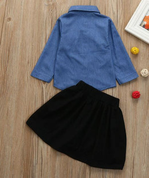 Rose Denim & Skirt Outfit