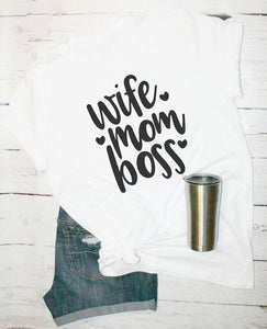 WIFE MOM BOSS Heart Tee