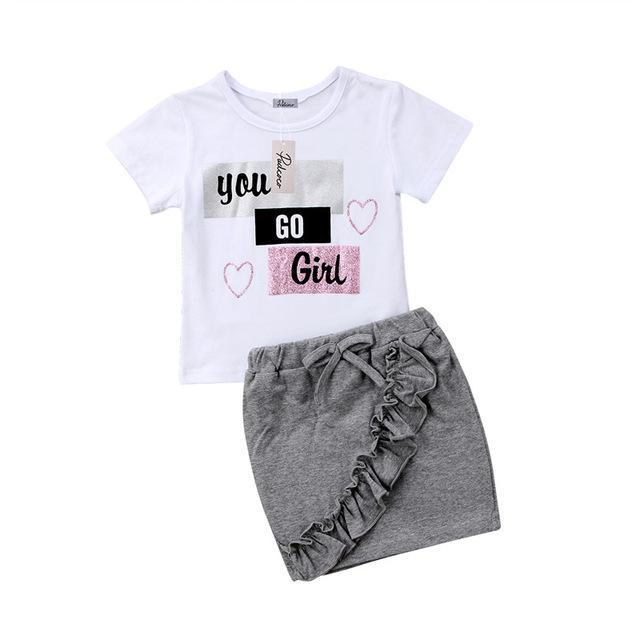 """You Go Girl"" Tee & Skirt Set"