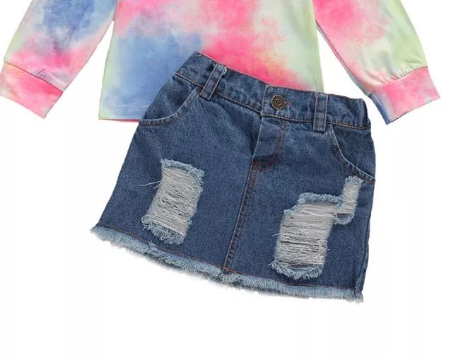 Denim Distressed Skirt *PRE-ORDER*