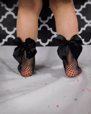 Bowknot Fishnet Ankle Socks