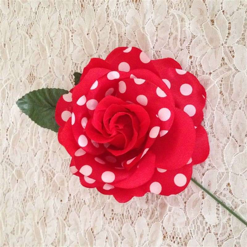 Flamenca hair flower Red with white polka dots
