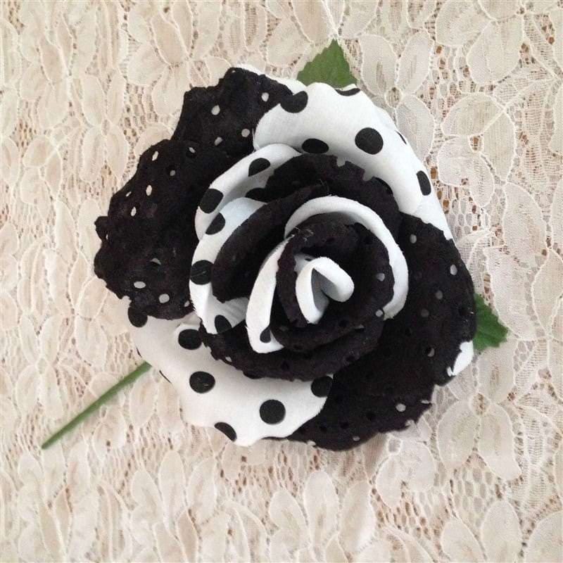 Flamenca hair flower Black/Polka dots
