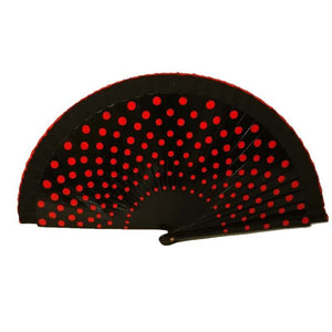 Flamenco hand fan, black and red dots