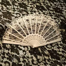 Bridal hand fan, white fabric and lace