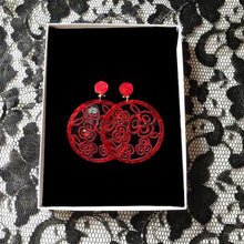 Flamenco Earrings, mother of pearl style, red