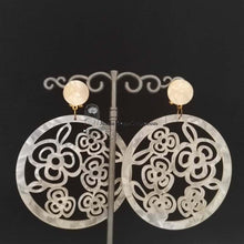 Flamenco Earrings, mother of pearl style, Ivory