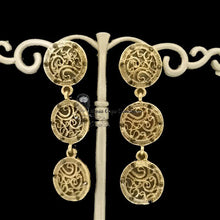 Flamenca earring, golden metal and crystals