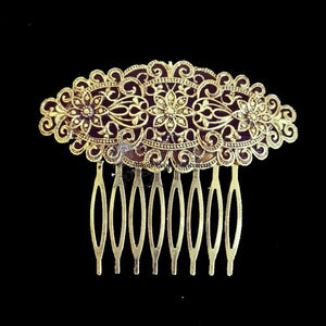 Medium hair comb, silver metal
